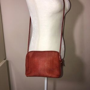TALBOTS Brick Red Leather Weave CROSSBODY BAG